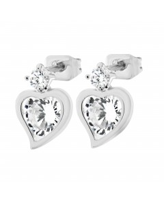 Byzantium Sterling Silver Diamond Dot Crystal Heart Drop Earrings 842