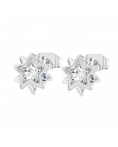 Byzantium Sterling Silver Double Star Crystal Stud Earrings 843