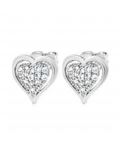 Byzantium Sterling Silver Heart Framed Crystal Stud Earrings 844