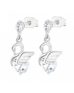 Byzantium Sterling Silver Crystal Swan Drop Earrings 847