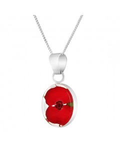 Byzantium Sterling Silver Real Flower Oval Poppy Pendant F375