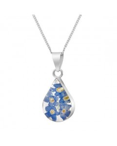Byzantium Sterling Silver Real Flower Teardrop Forget-Me-Not Pendant F379