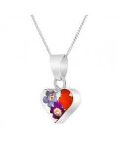 Byzantium Sterling Silver Real Flower Small Heart Mixed Bouquet Pendant F482