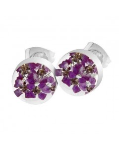 Byzantium Sterling Silver Real Flower Round Violet Stud Earrings F536