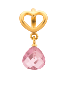 Endless Gold Plated Sterling Silver 'Heart' Rose CZ Drop Bead 53302-4