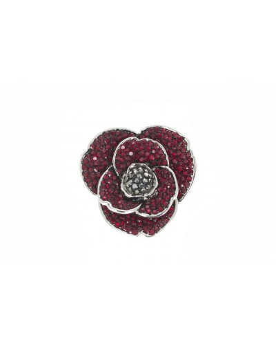Espree Rhodium Plated Crystal Poppy Brooch 1920
