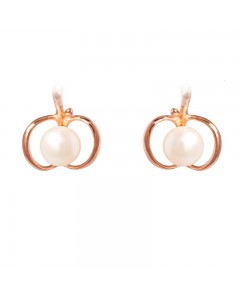 Espree Rose Gold Plated Sterling Silver FW Pearl Apple Stud Earrings 5383