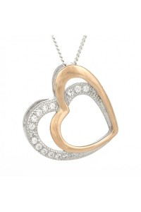 Espree Rose Gold Plated Sterling Silver CZ Double Heart Pendant 5528
