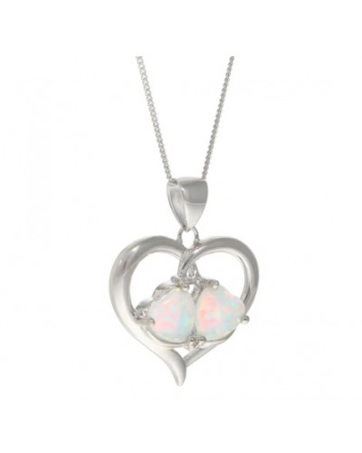 Espree Sterling Silver Created Opal Heart Pendant 5634