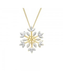 Espree Gold Plated Sterling Silver CZ Snowflake Pendant 5676