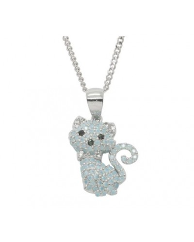 Espree Sterling Silver Created Opal Cat Pendant 5685