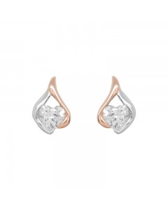 Espree Pink Rhodium Teardrop Heart CZ Stud Earrings 5723