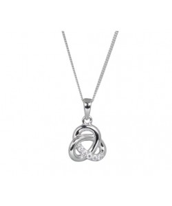 Espree Sterling Silver CZ Entwined Pendant 5858