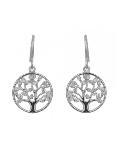 Espree Sterling Silver CZ Tree of Life Earrings 5954