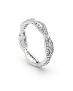 Georgini Sterling Silver Cubic Zirconia Plait Ring R210