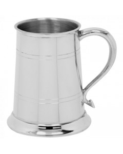 Pewter Straight 2 Line Tankard EP004