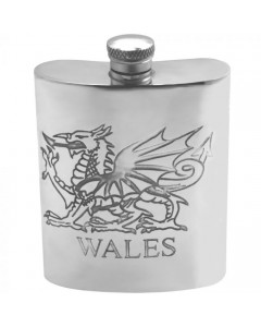 Pewter 6oz Wales Dragon Hip Flask WAL004