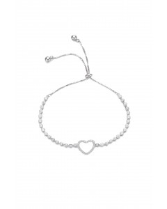 Insignia Sterling Silver CZ Heart Toggle Bracelet BT1029