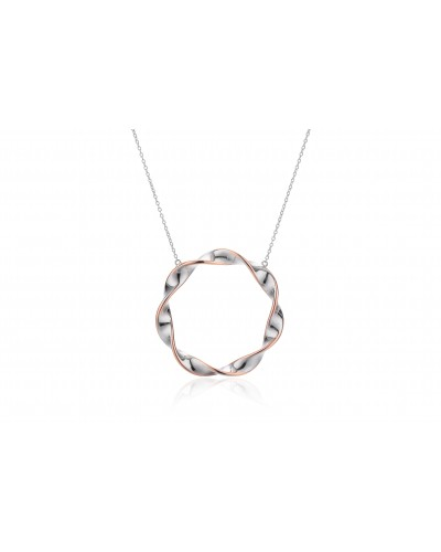 Insignia Sterling Silver Rose Plated Ribbon Twist Necklet PC2379R