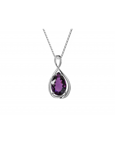 Amore 9ct White Gold Infinity Amethyst Pendant 6846