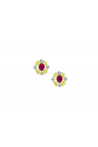 Amore 9ct Gold Capsela Diamond And Ruby Earrings 6850YR