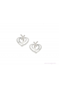 Amore Sterling Silver Love And Kisses CZ Earrings 9195SILCZ