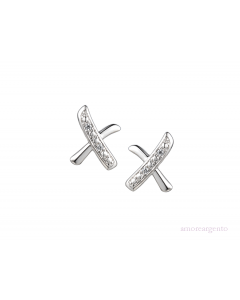 Amore Sterling Silver Love And Kisses CZ Earrings 9198SILCZ