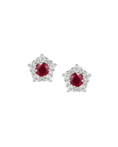 Amore Sterling Silver Classico Ruby Earrings 9211SILCZR