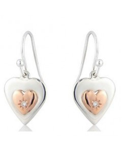 Cymru Gold Sterling Silver And 9ct Gold Diamond Heart Of Gold Earrings SWE16