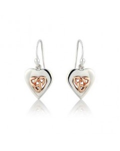 Cymru Gold Sterling Silver And 9ct Gold Triquetra Heart Earrings SWE20