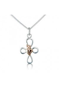 Cymru Gold Sterling Silver And 9ct Gold Tree Of Life Cross SWP14