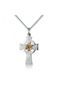 Cymru Gold Sterling Silver And 9ct Gold Daffodil Celtic Cross Pendant SWP15