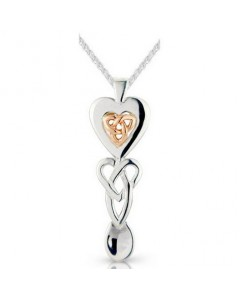 Cymru Gold Sterling Silver And 9ct Gold Triquetra Heart Lovespoon SWP18