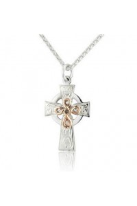 Cymru Gold Sterling Silver And 9ct Gold Celtic Cross SWP19