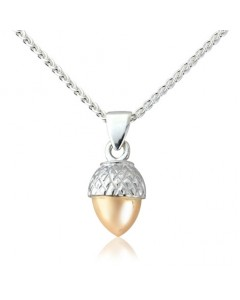 Cymru Gold Sterling Silver And 9ct Gold Acorn Pendant SWP21