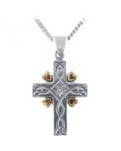 Cymru Gold Sterling Silver And 9ct Gold Calon Aur Cross SWP56
