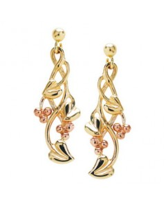 Cymru Gold 9ct Gold Tree Of Life Drop Earrings WE24