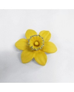 Rhodium Plated Small Daffodil Brooch B6610 Rhod