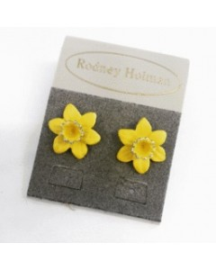 Rhodium Plated Daffodil Stud Earrings E4701 Rhod
