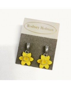 Rhodium Plated Daffodil Drop Earrings E4702 Rhod