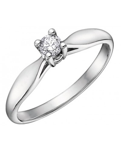9ct White Gold 0.10ct Diamond Engagement Ring 1579WG/10-9