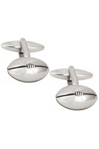Rhodium Plated Rugby Ball Cufflinks 90 1096