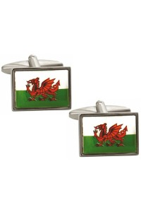 Rhodium Plated Welsh Flag Cufflinks 90 9120