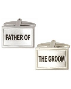 Rhodium Plated Father Of The Groom Cufflinks 90 0228