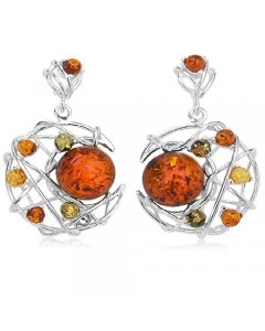 Sterling Silver Amber Dreamcatcher Drop Earrings ER1408