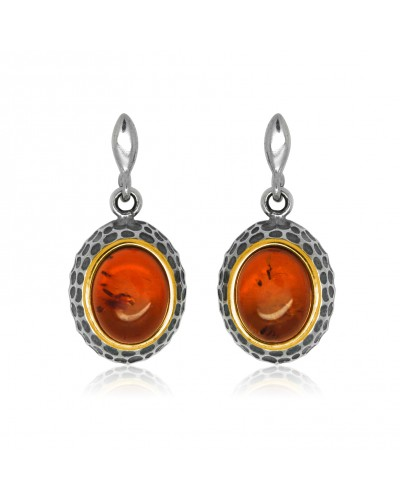 Sterling Silver Gold Plated Amber Drop Earrings ER1466