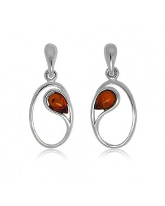 Sterling Silver Amber Oval Drop Earrings ER1488