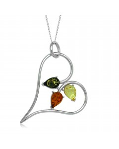 Sterling Silver Amber Open Heart Pendant P1023