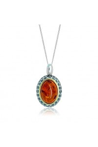 Sterling Silver Gold Plated Amber Pendant P1045