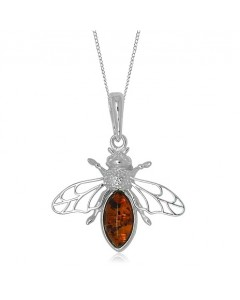 Sterling Silver Amber Bee Pendant P1058